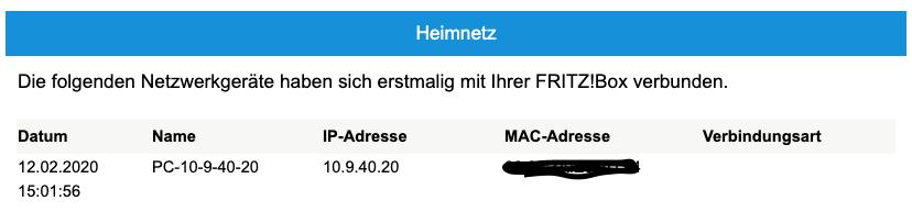 E-Mail der FritzBox das such ein neues Gerät angemeldet hat während niemand zuhause war.