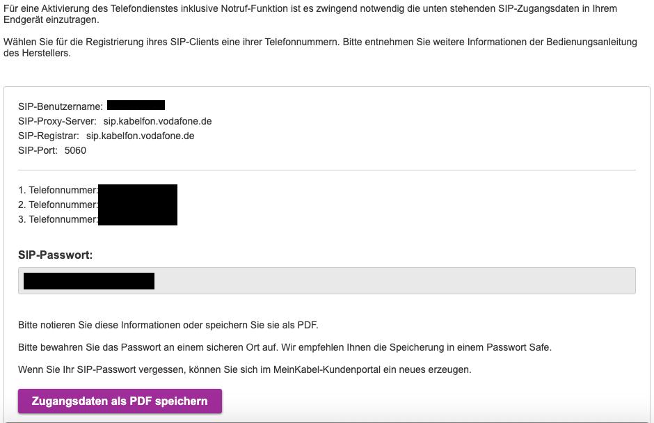 SIP beziehungsweise VoIP Informationen von Vodafone