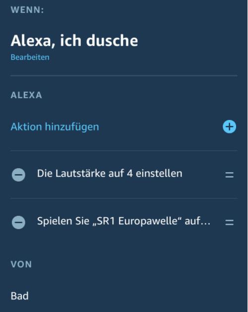 Alexa Routine das Musik gestartet wird