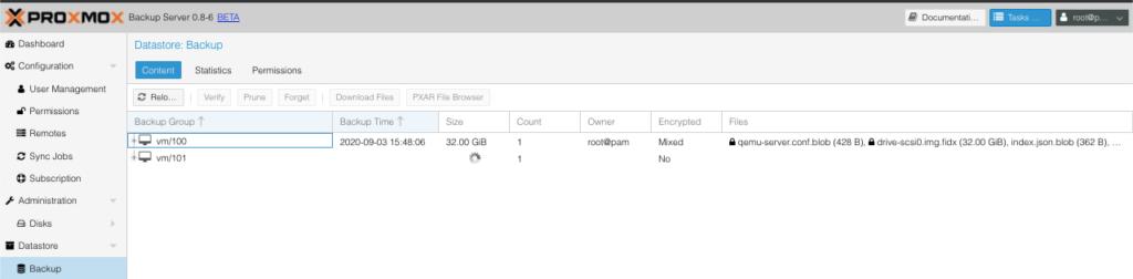 Sicheung auf dem Proxmox Server