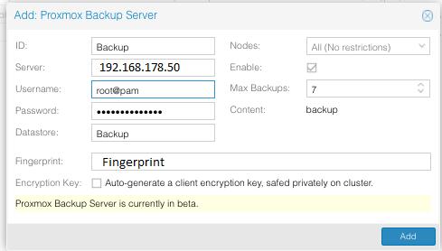 Fenster in dem die Proxmox Backup Server Daten eingetragen werden