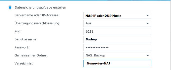 Datensicherungsaufgabe erstellen mit den Daten der Remote NAS