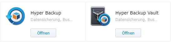HyperBackup und HyperBackup Vault Pakete die installiert werden müssen