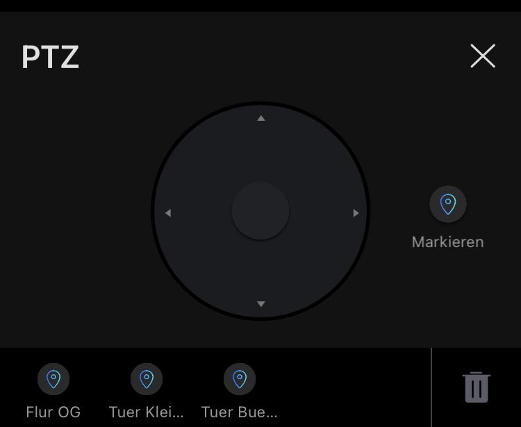 Markieren in der PTZ Funktion der Reolink App