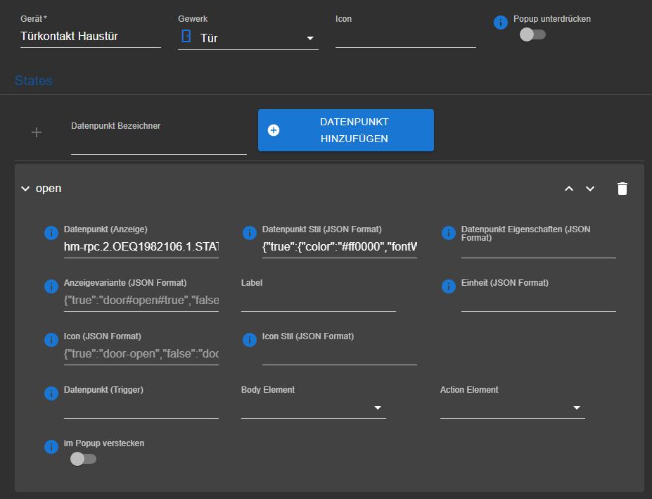 Haustür als Gerät mit Datenpunkten und JSON Layout.