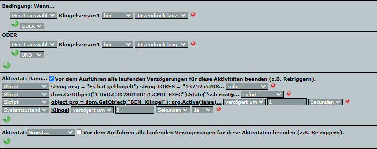 Homematic Programm des Klingelsensors mit diversen Scripten.
