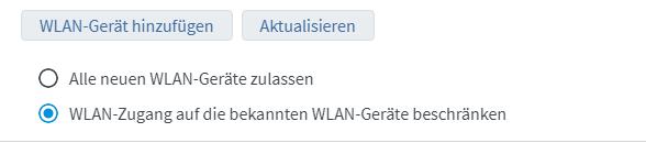 """Bild der aktivierten Option """"WLAN-Zugang beschränken"""""""
