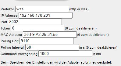 Erste Einstellungen des Samsung Tizen Adapters in ioBroker. Hier wird erstmal nur IP und Mac Adresse angegeben.