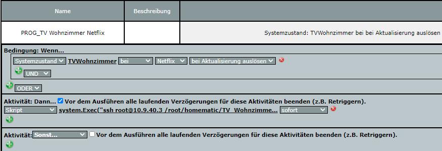 Programm-Beispiel des Programms um auf den SmartTV Netflix zu starten.