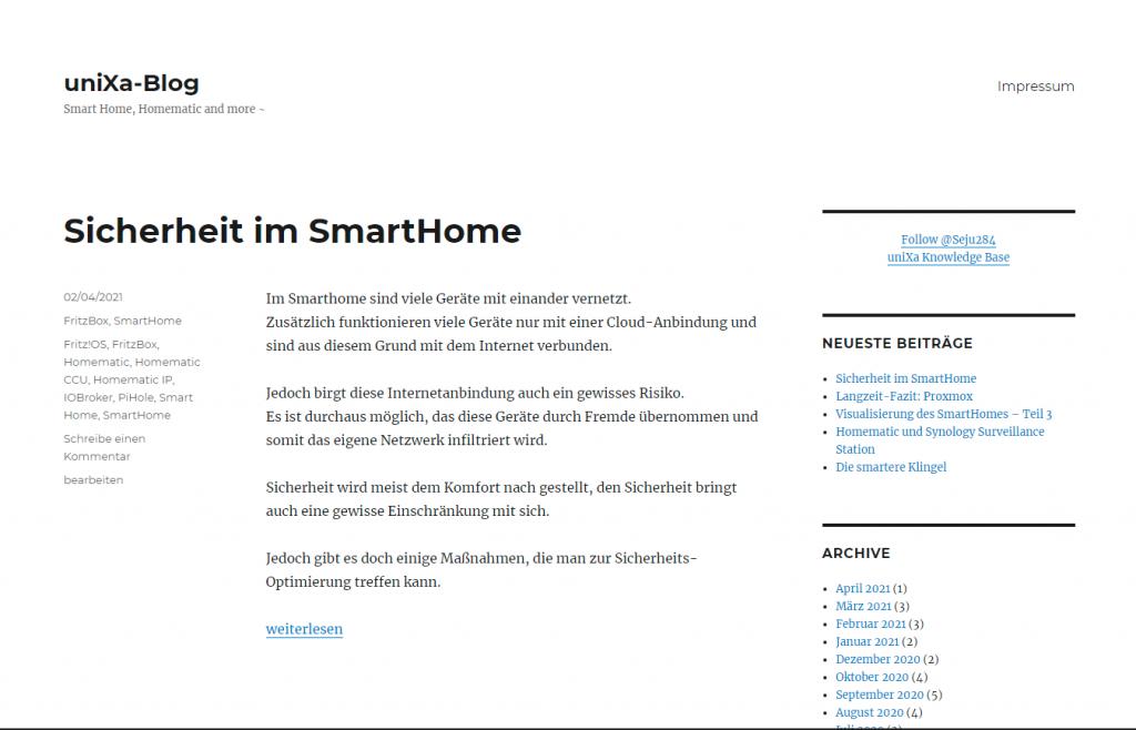 Das alte Design von uniXa-Blog.  Sin schlichtes Schwarz und Weißes Layout ohne nennenswerte Funktionalität.
