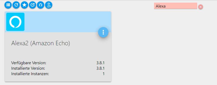 Suche nach Alexa in den ioBroker Adaptern mit Alexa2 (Amazon Echo) als Suchergebnis.