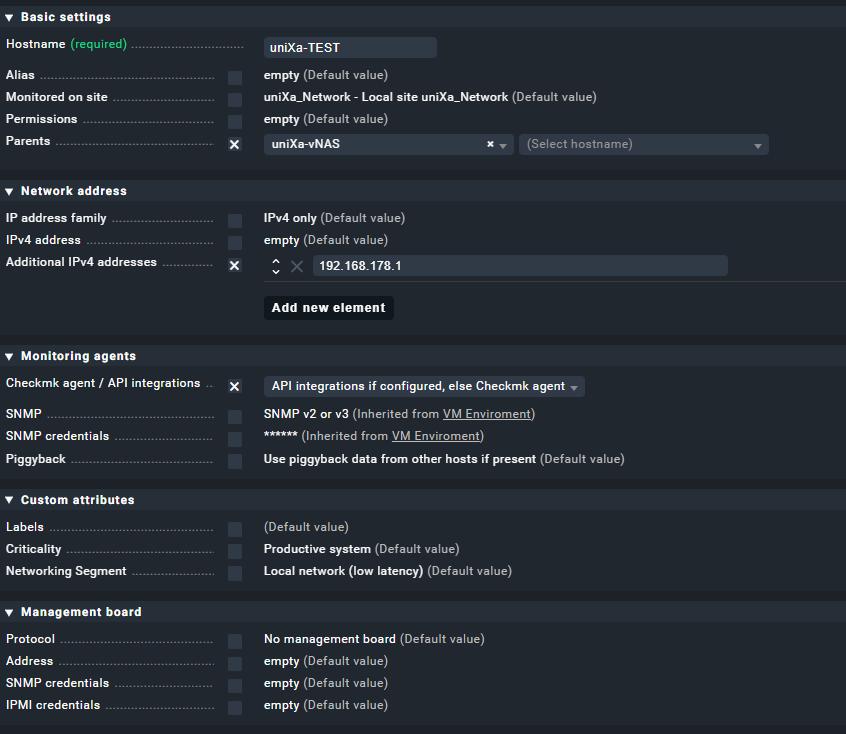 Beispielkonfiguration eines Hosts in Check_MK